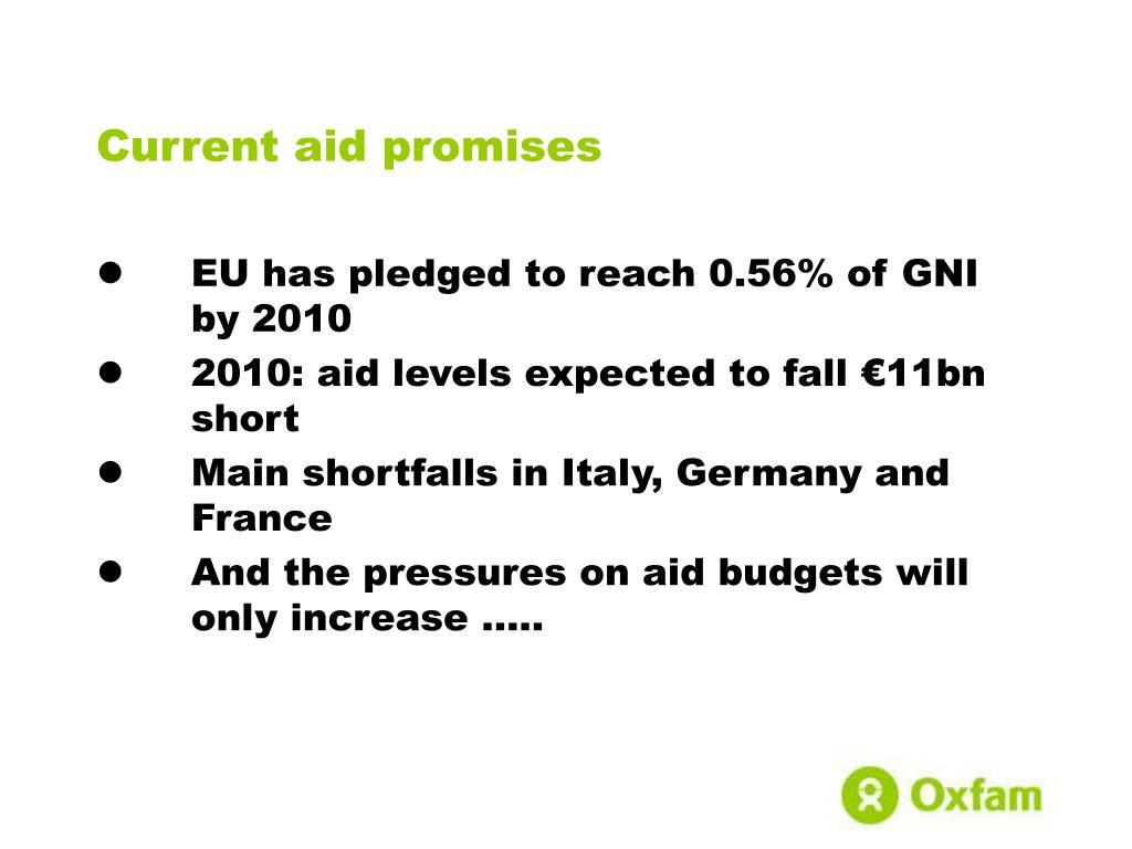 Current aid promises