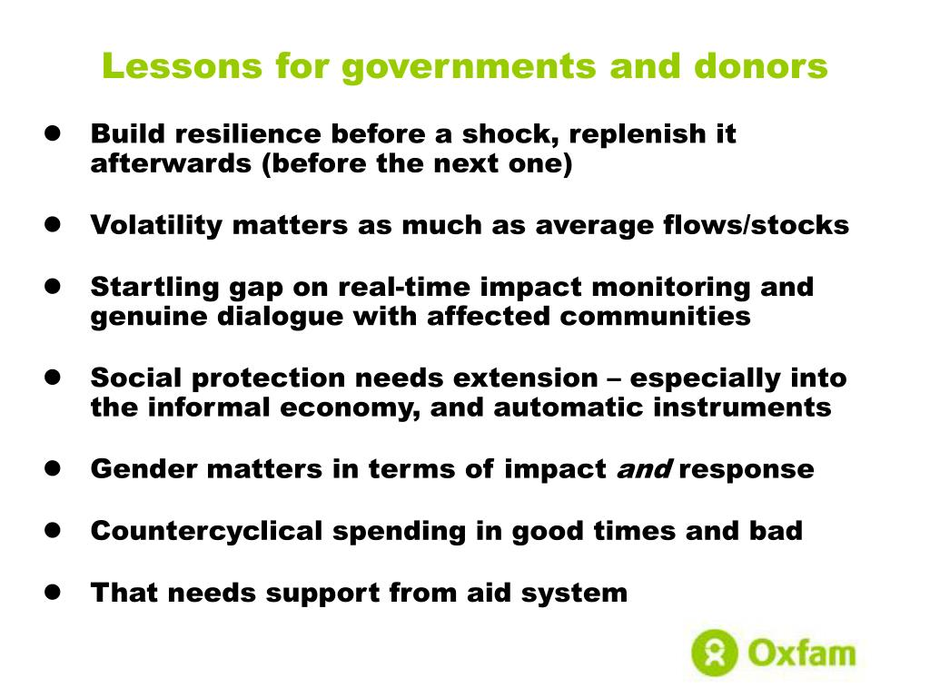 Lessons for governments and donors