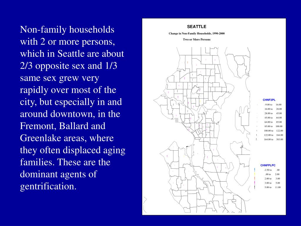 Non-family households with 2 or more persons, which in Seattle are about 2/3 opposite sex and 1/3 same sex grew very rapidly over most of the city, but especially in and around downtown, in the Fremont, Ballard and Greenlake areas, where they often displaced aging families. These are the dominant agents of gentrification.