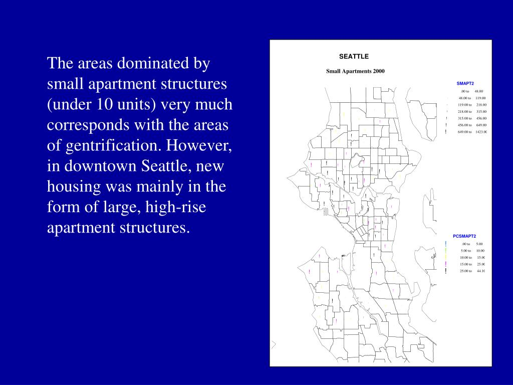 The areas dominated by small apartment structures (under 10 units) very much corresponds with the areas of gentrification. However, in downtown Seattle, new housing was mainly in the form of large, high-rise apartment structures.