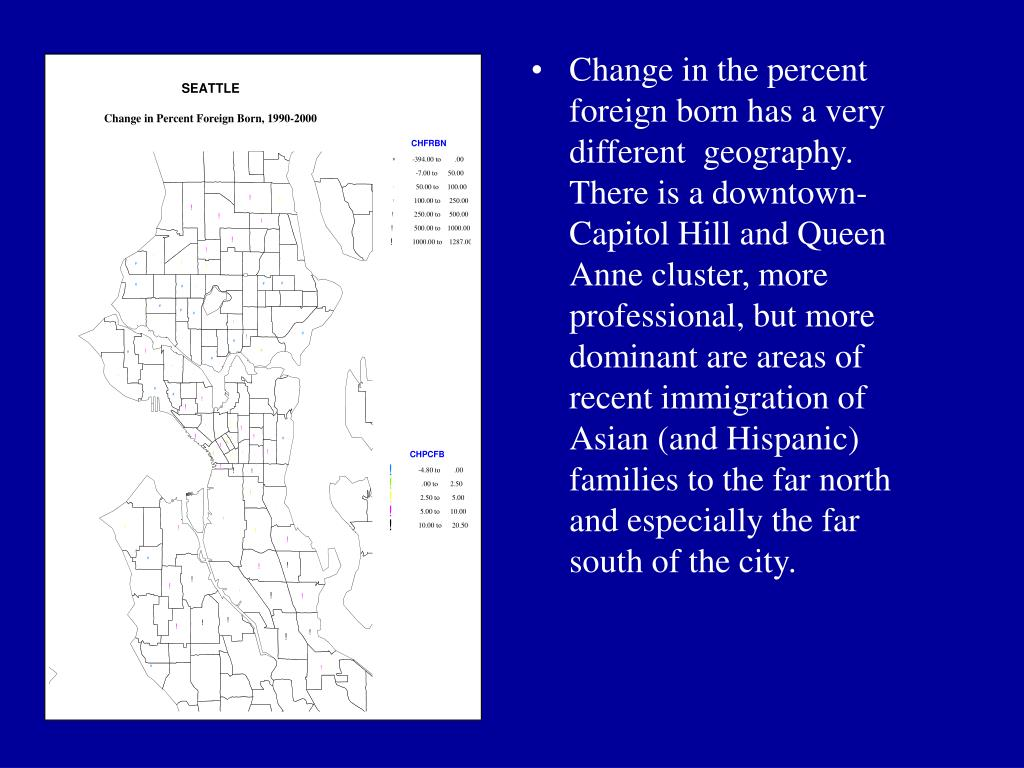 Change in the percent foreign born has a very different  geography. There is a downtown-Capitol Hill and Queen Anne cluster, more professional, but more dominant are areas of recent immigration of Asian (and Hispanic) families to the far north and especially the far south of the city.