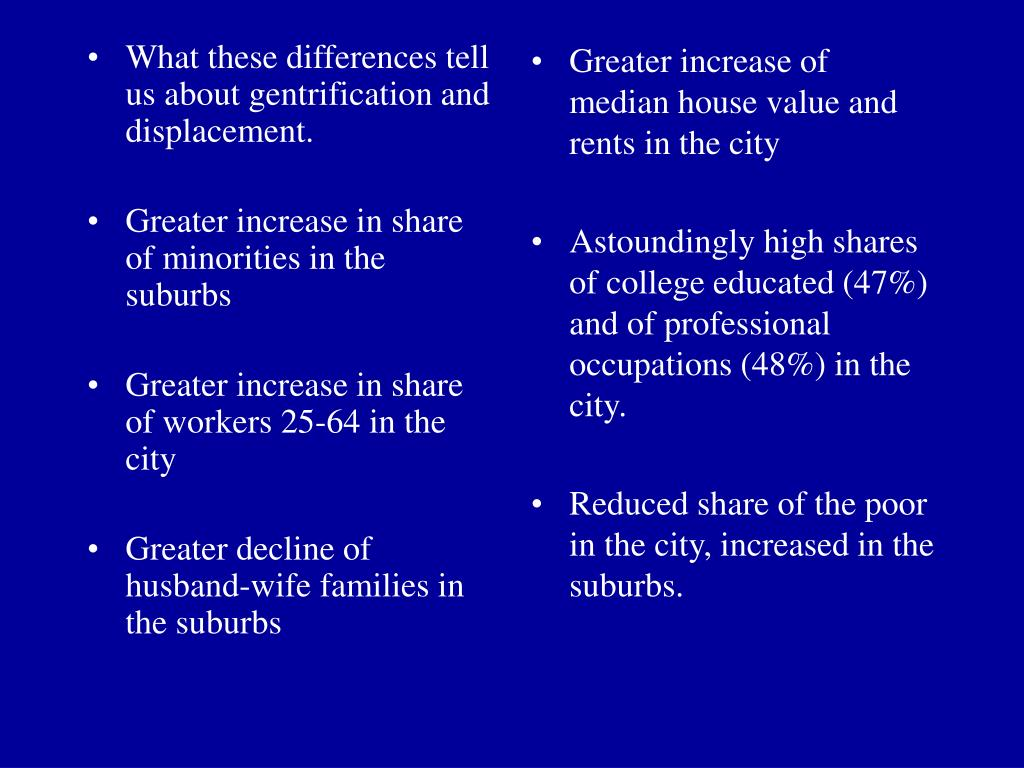What these differences tell us about gentrification and displacement.