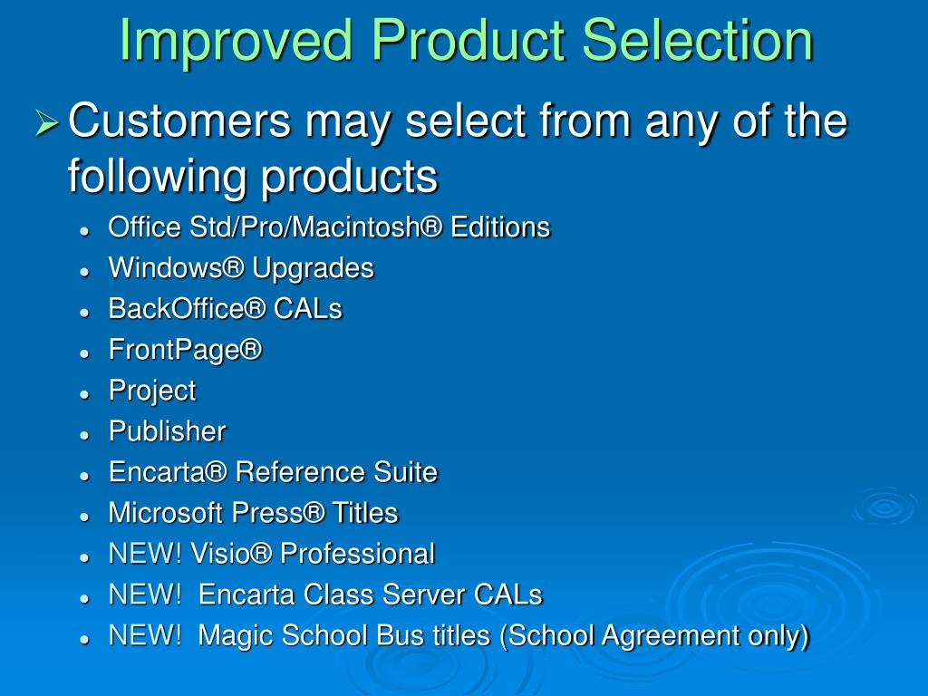 Improved Product Selection