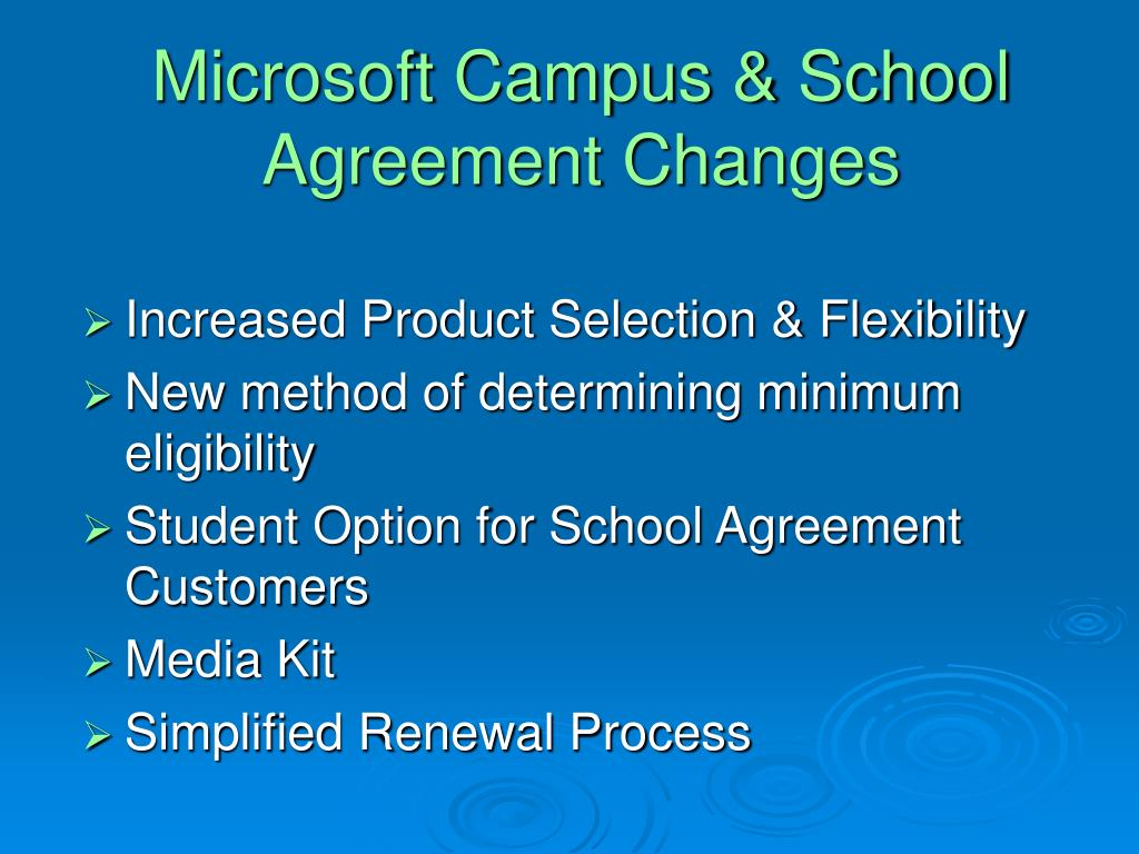 Microsoft Campus & School Agreement Changes