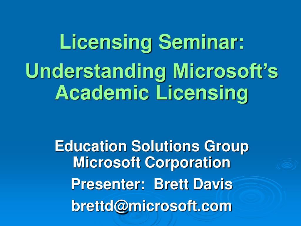 Licensing Seminar: