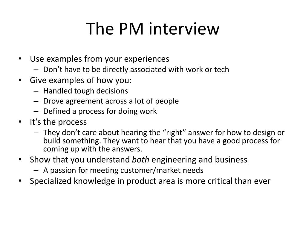 The PM interview