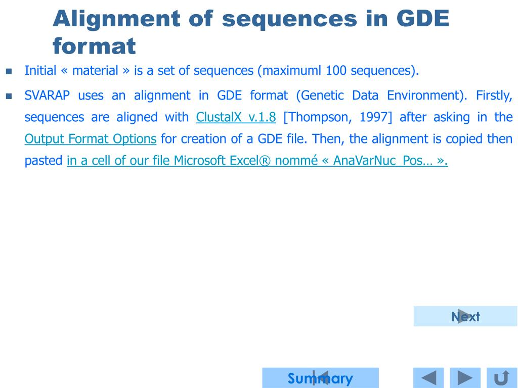Alignment of sequences in GDE format