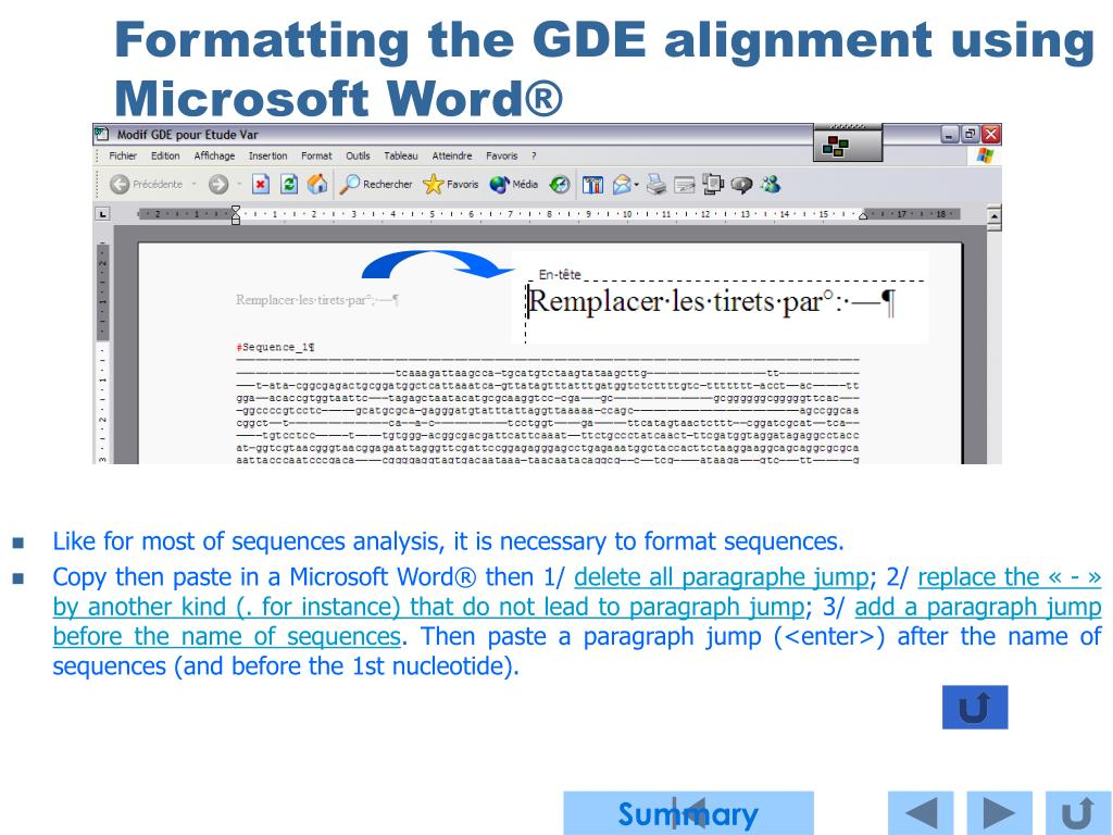 Formatting the GDE alignment using Microsoft Word®