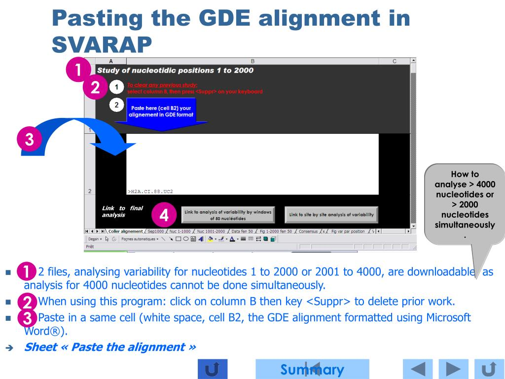 Pasting the GDE alignment in SVARAP