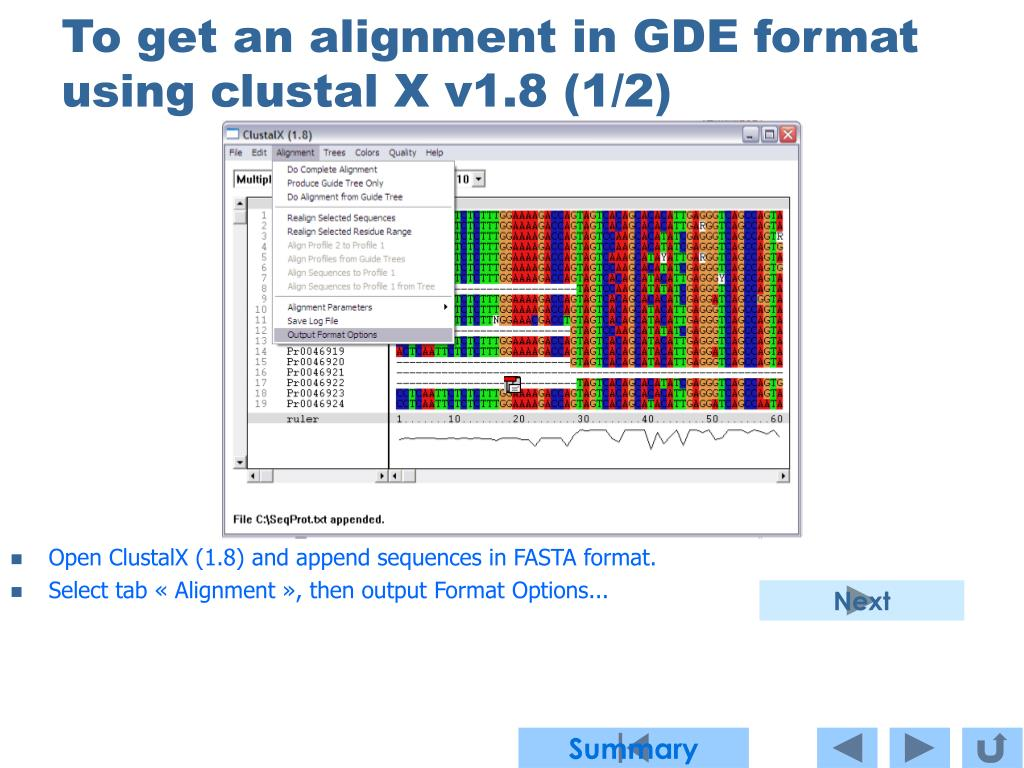 To get an alignment in GDE format using clustal X v1.8 (1/2)