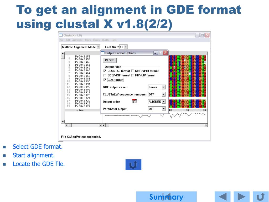 To get an alignment in GDE format using clustal X v1.8(2/2)