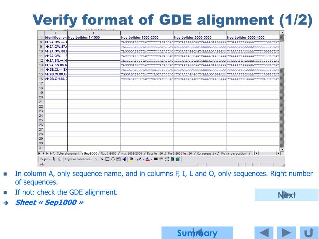 Verify format of GDE alignment (1/2)