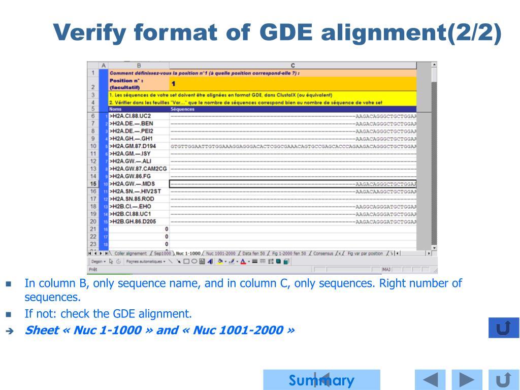 Verify format of GDE alignment(2/2)