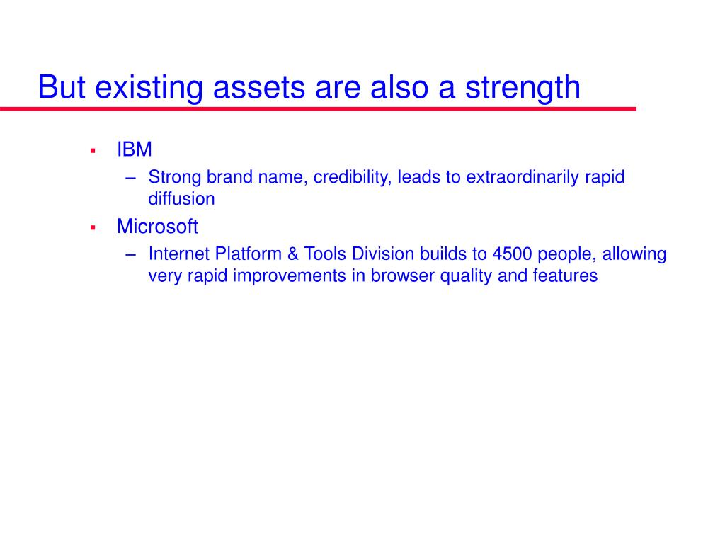 But existing assets are also a strength