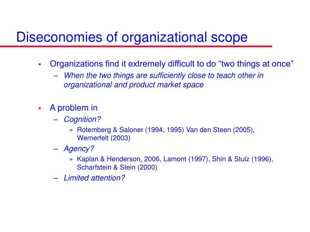 Diseconomies of organizational scope