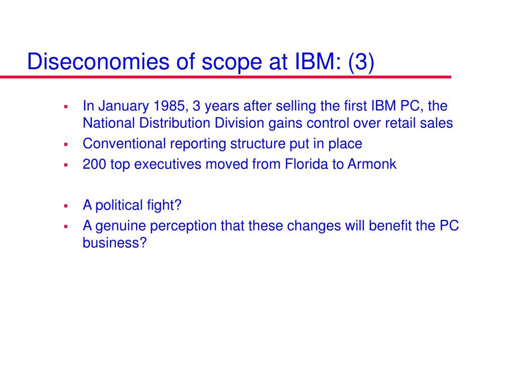 Diseconomies of scope at IBM: (3)