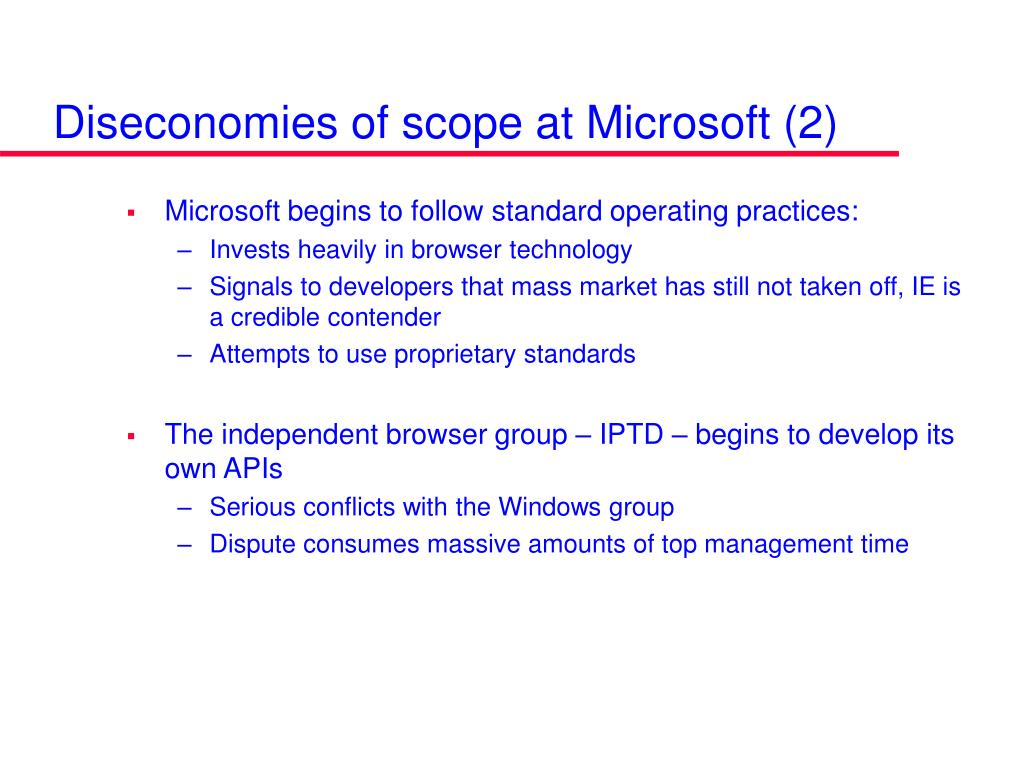 Diseconomies of scope at Microsoft (2)