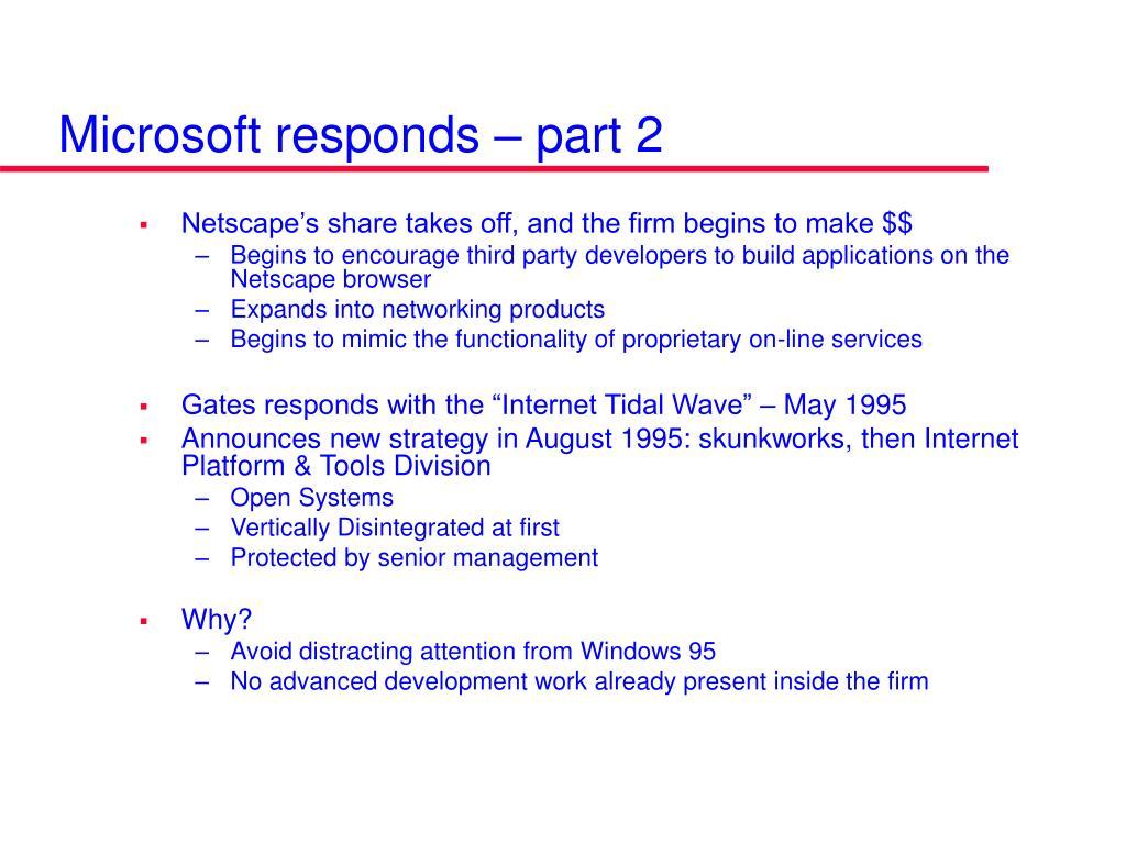Microsoft responds – part 2