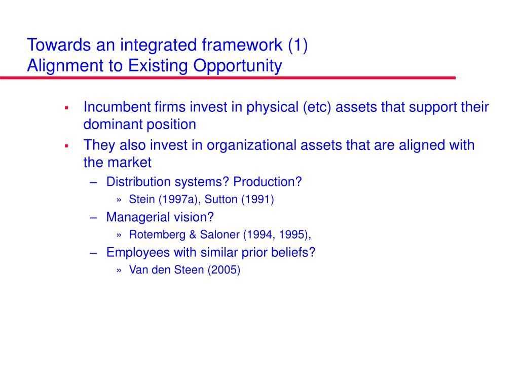 Towards an integrated framework (1)