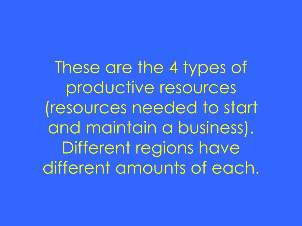 These are the 4 types of productive resources (resources needed to start and maintain a business).  Different regions have different amounts of each.