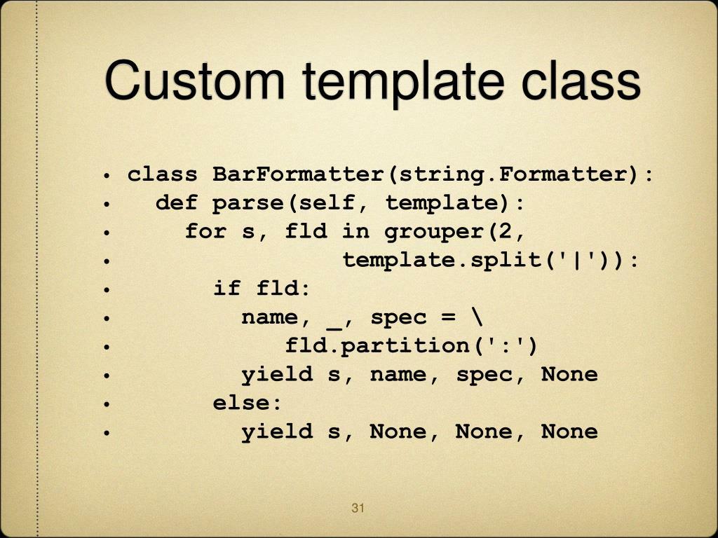 Custom template class