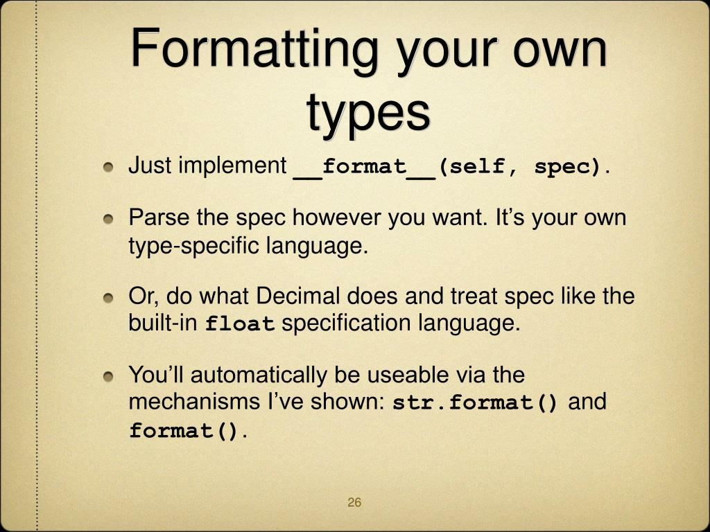 Formatting your own types