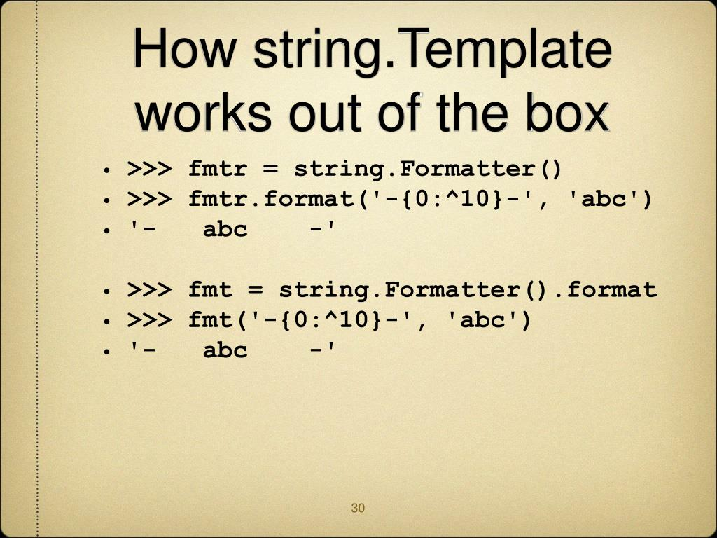 How string.Template works out of the box