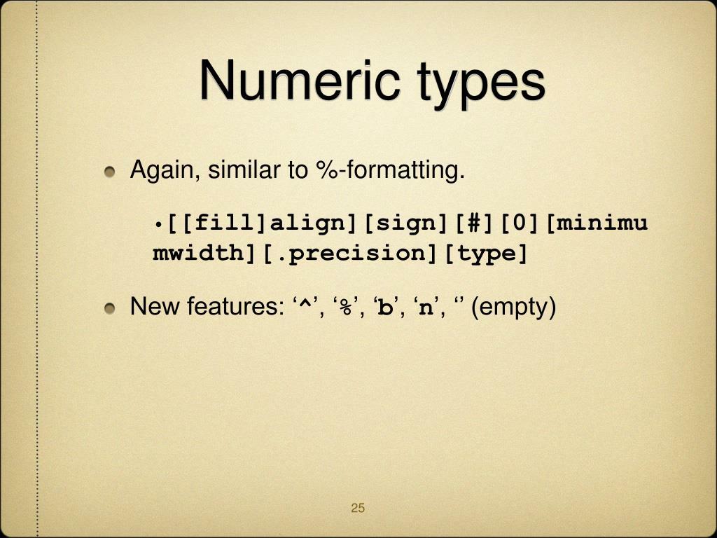 Numeric types