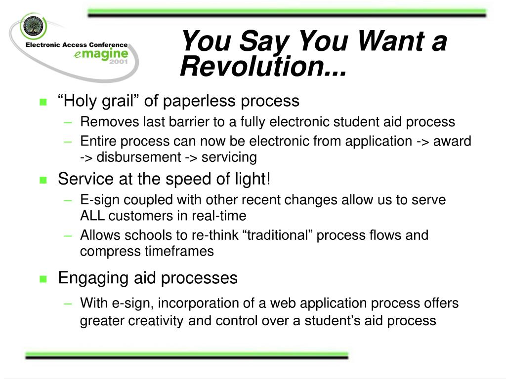 You Say You Want a Revolution...