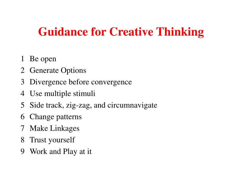 Guidance for Creative Thinking