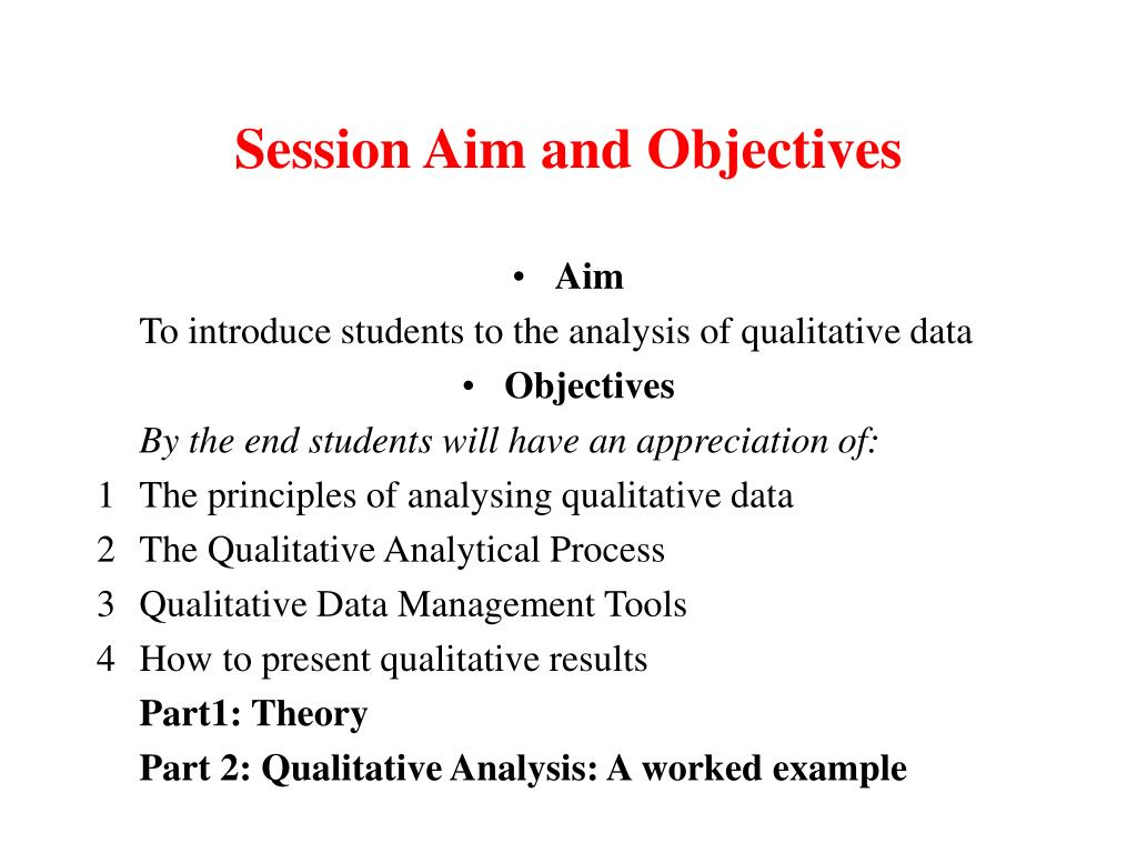 Session Aim and Objectives