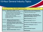 10 hour general industry topics