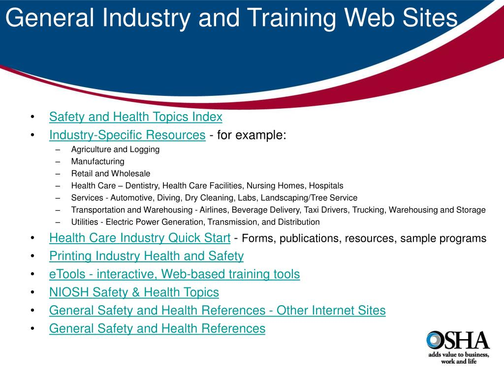 General Industry and Training Web Sites