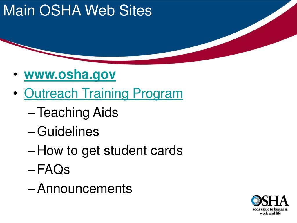 Main OSHA Web Sites