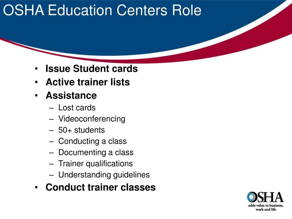 OSHA Education Centers Role