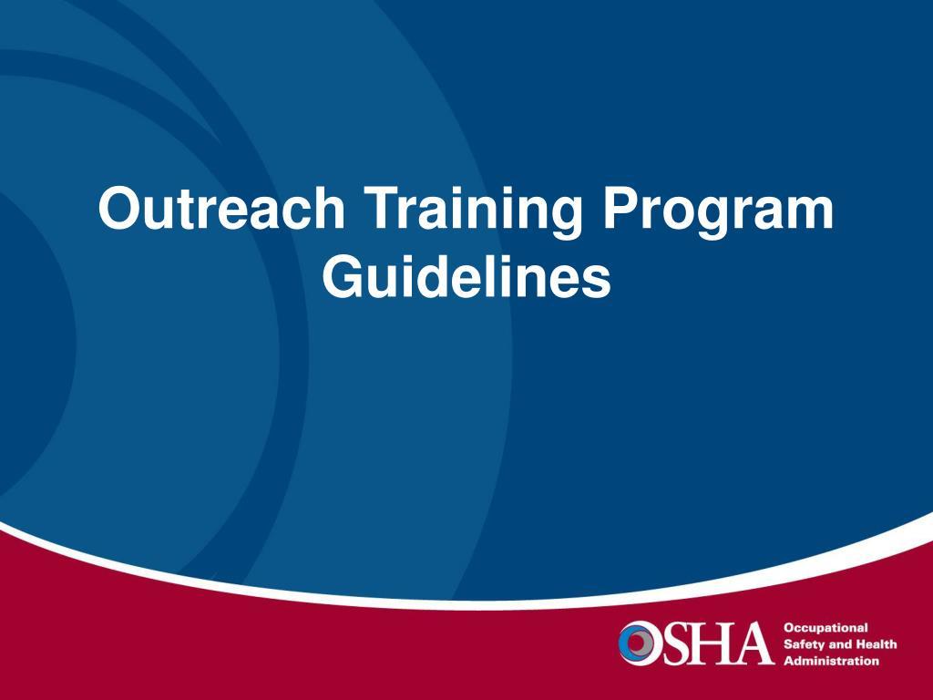 Outreach Training Program Guidelines