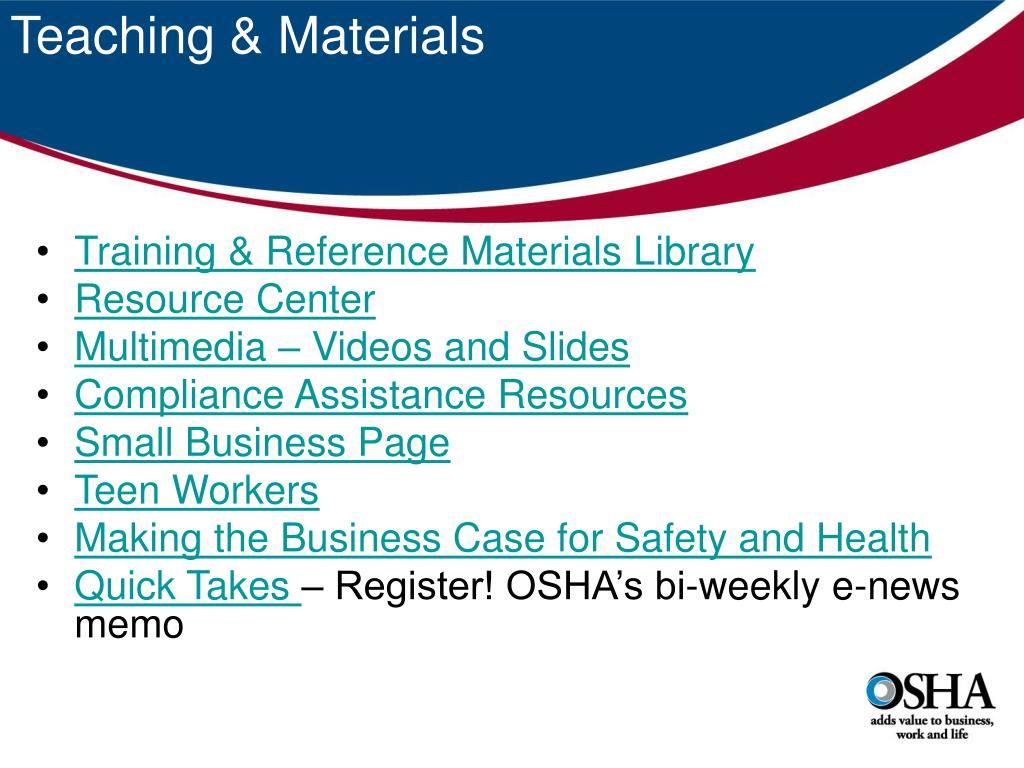 Teaching & Materials