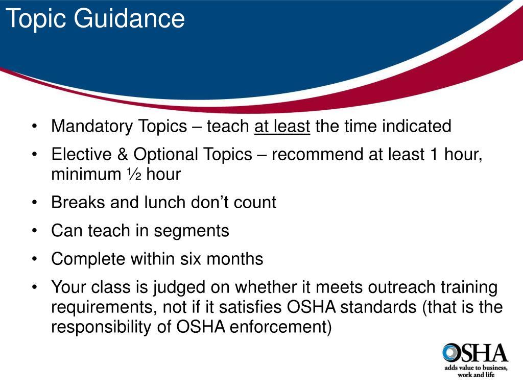 Topic Guidance
