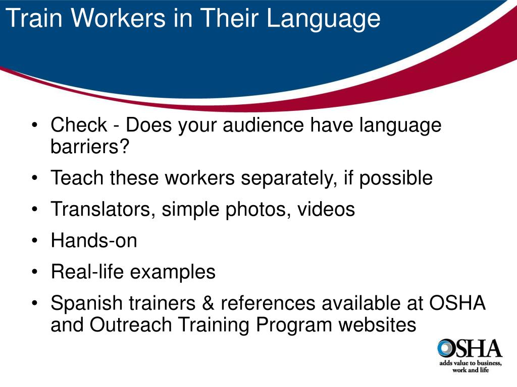 Train Workers in Their Language