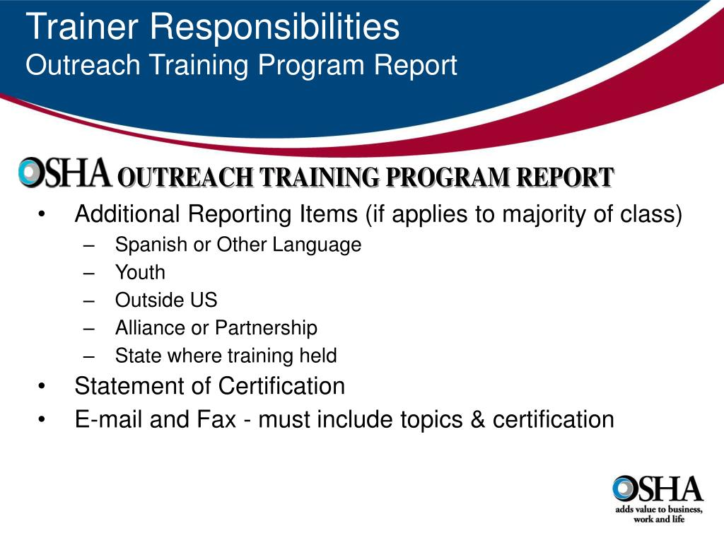 Trainer Responsibilities