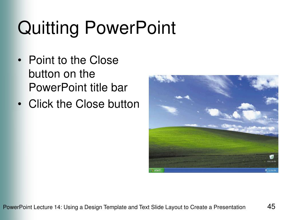 Quitting PowerPoint