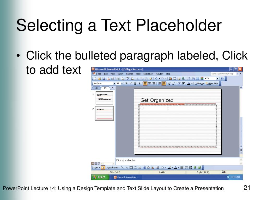Selecting a Text Placeholder