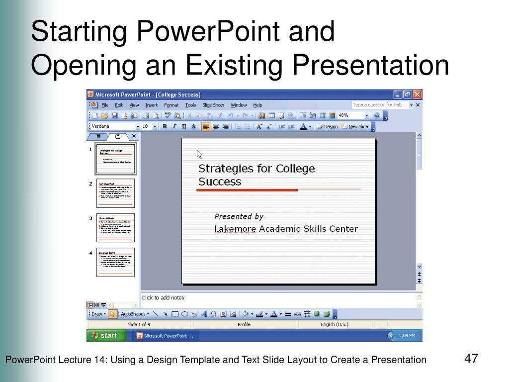 Starting PowerPoint and