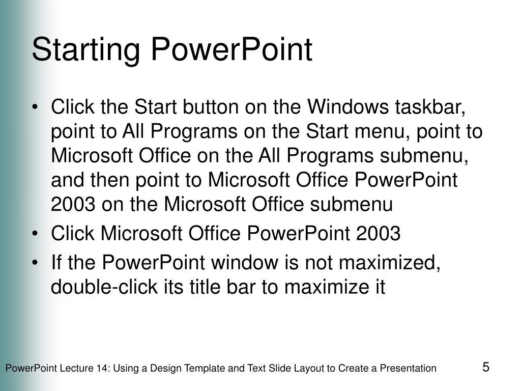 Starting PowerPoint