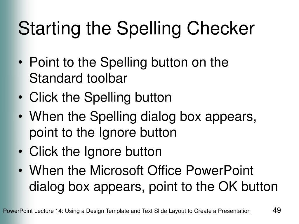 Starting the Spelling Checker