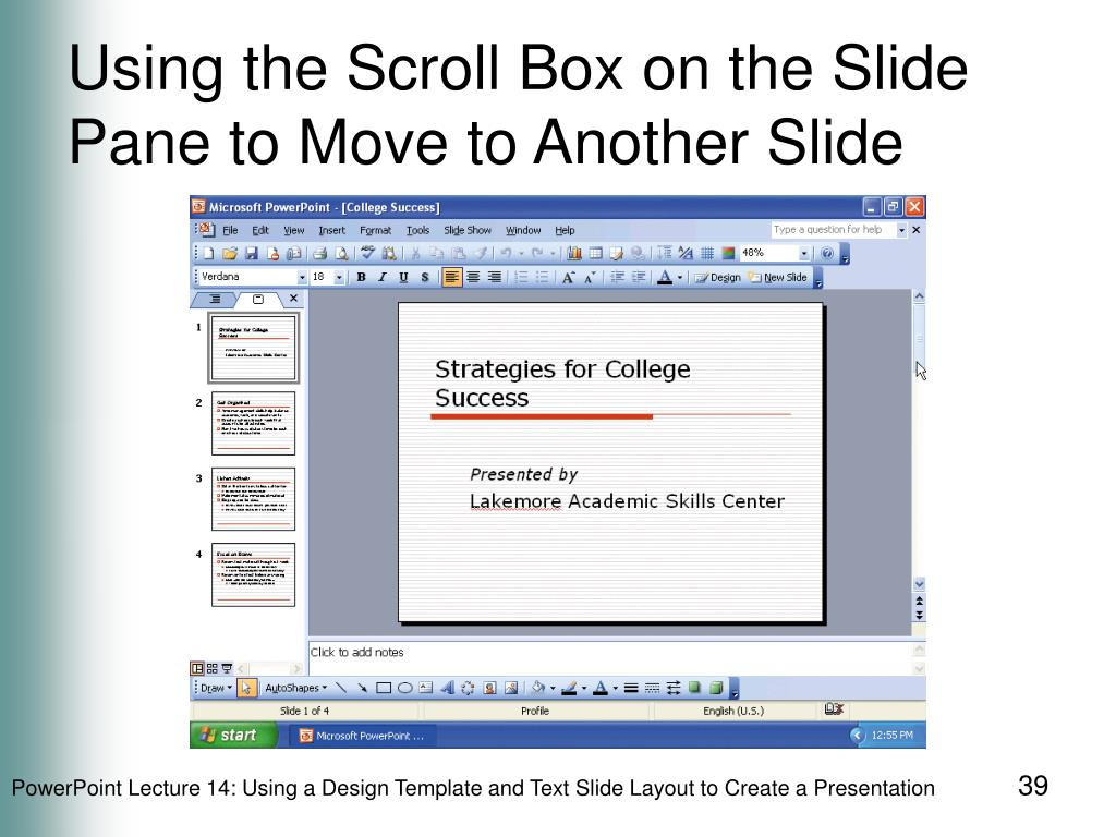 Using the Scroll Box on the Slide Pane to Move to Another Slide