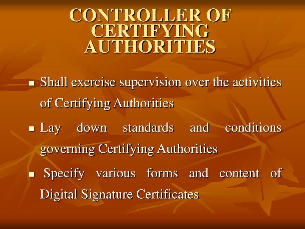 CONTROLLER OF CERTIFYING AUTHORITIES