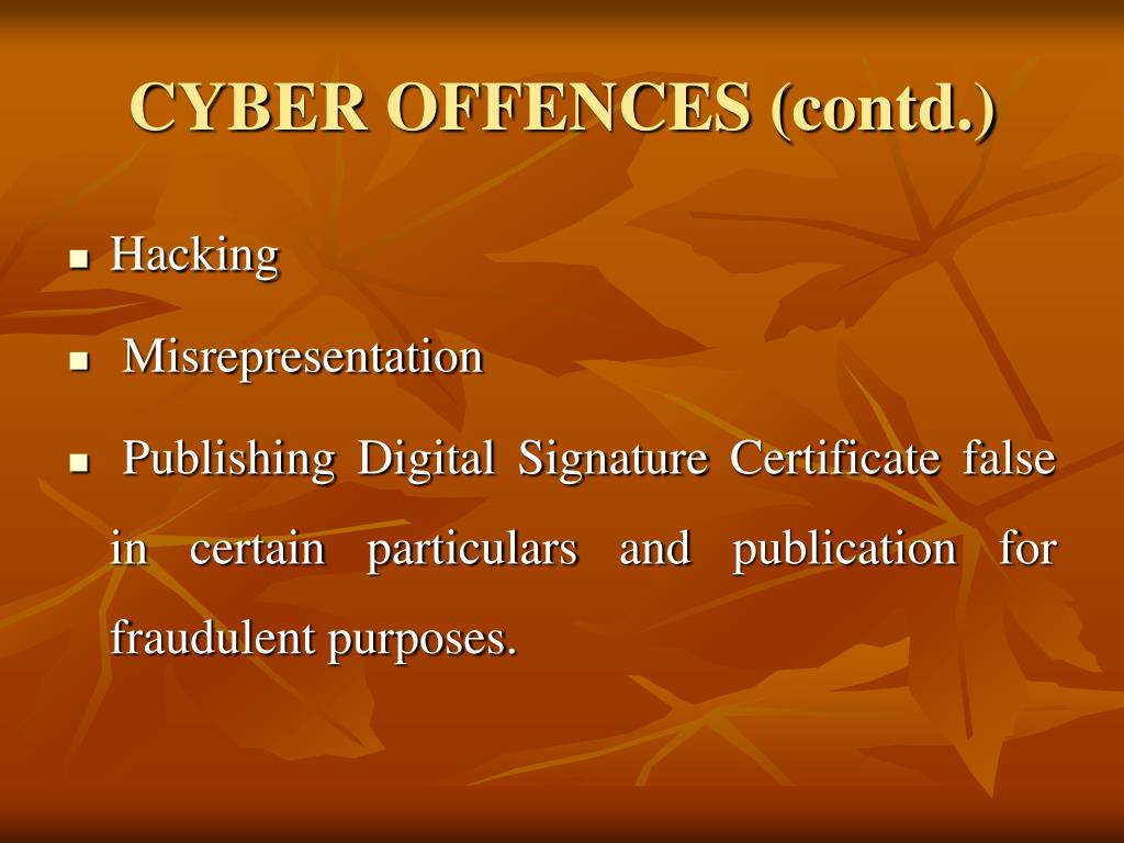 CYBER OFFENCES (contd.)
