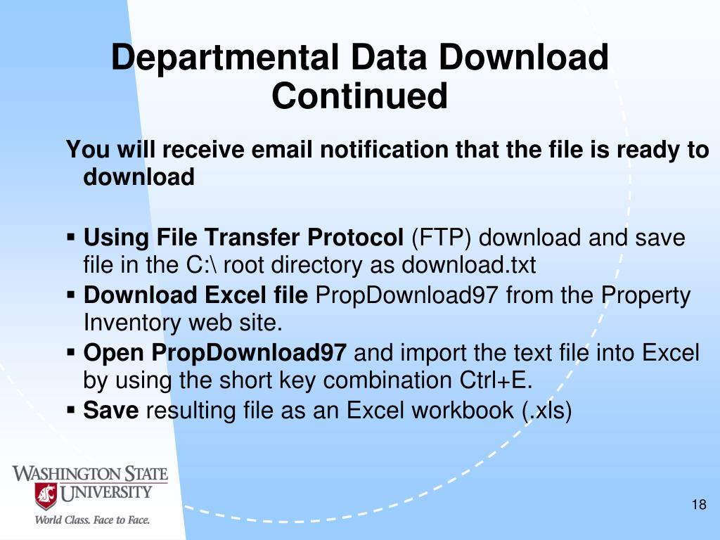 Departmental Data Download