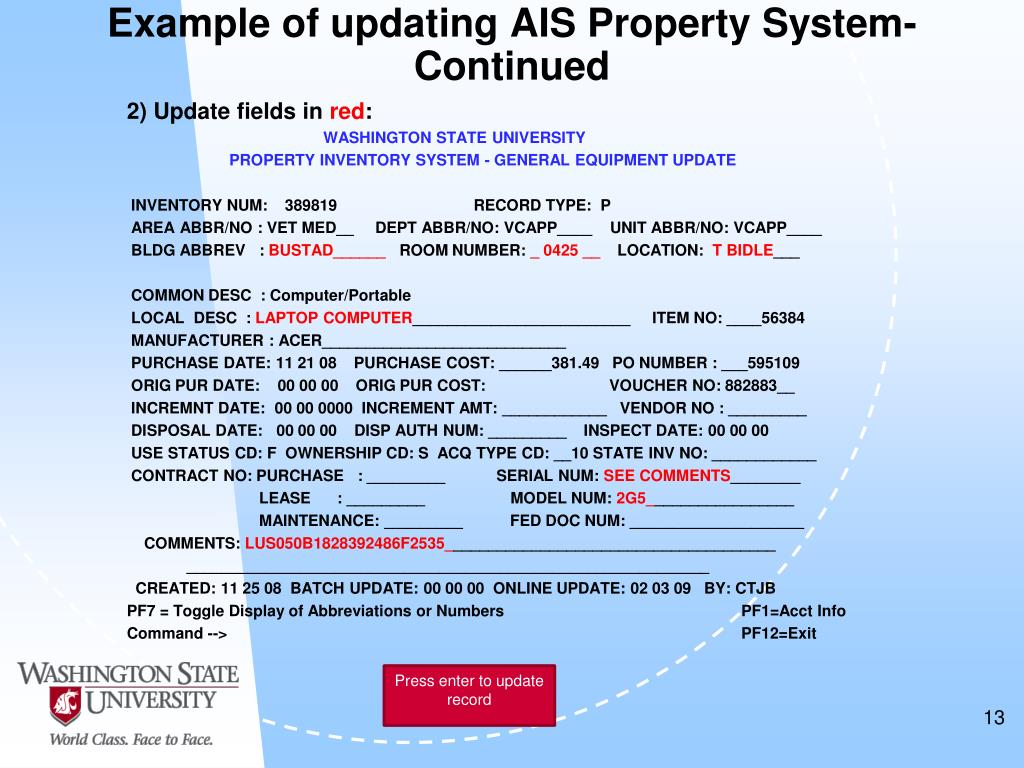 Example of updating AIS Property System-Continued